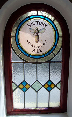 Hey's stained glass Victory Ale window at the Willow Tree Inn, Riddlesden