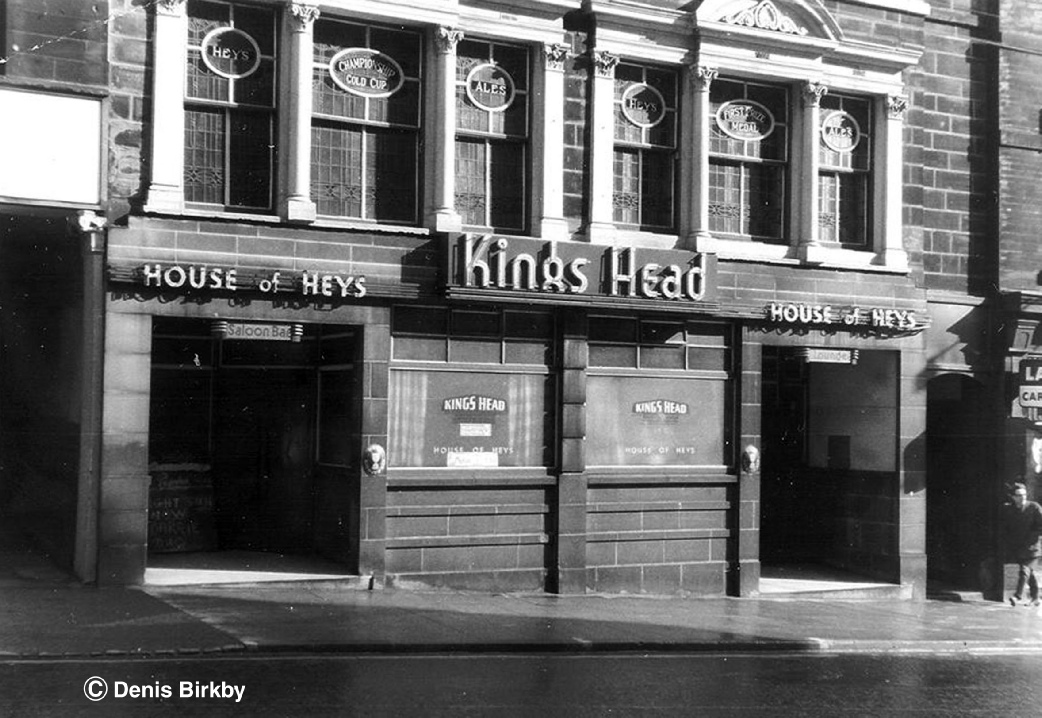 The King's Head, Westgate, Bradford, about 1966. Unfortunately the fine glasswork in the first floor windows hasn't survived. Picture copyright Denis Birkby